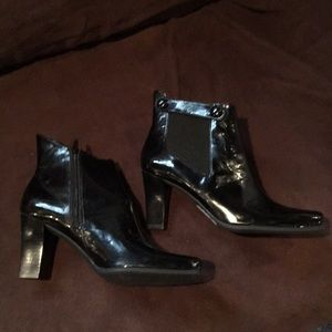 Women's Franco Sarto Patent Leather Black Boots